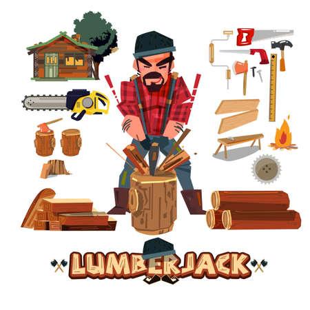 Het karakterontwerp van de houthakker met hulpmiddelreeks, houthakkers hakkend hout met bijl en komt met typografisch ontwerp, beroepsconcept - vectorillustratie