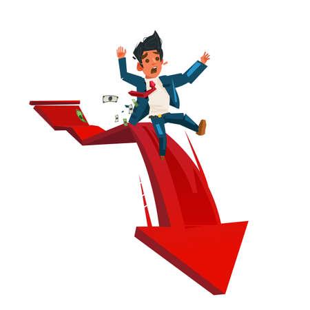 Businessman On Falling red downward graph - vector illustration
