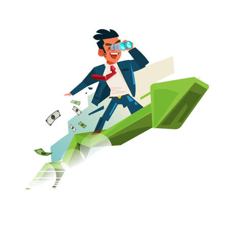 Businessman holding binocular on upward graph, looking for money and successful in business concept - vector illustration