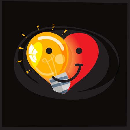 心臓の形状の半分に電球、エネルギーを節約し、地球の概念を愛する-ベクトルイラスト