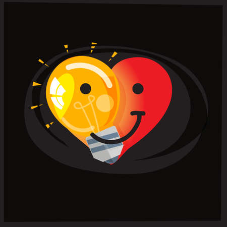 Light bulb in half of heart shape, save energy and love the earth concept  - vector illustration