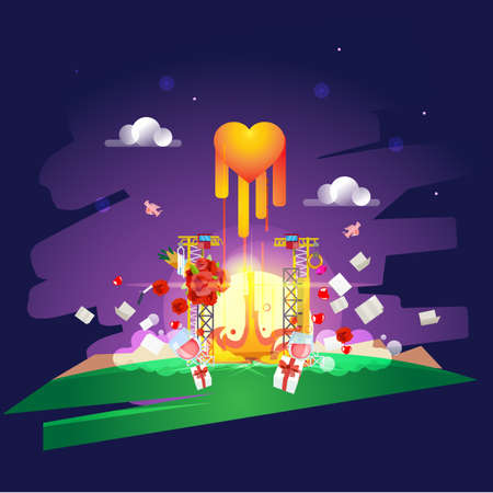 Heart or love icon launch from spaceport, take off your love concept - vector illustration Illustration