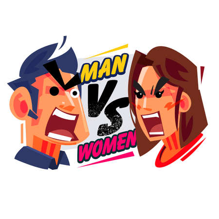Man versus Women concept, male and female yelling at each other. typographic design illustration.