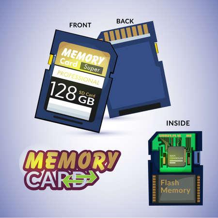 メモリ カードを前面、背面、内部の詳細に表示します。  イラスト・ベクター素材