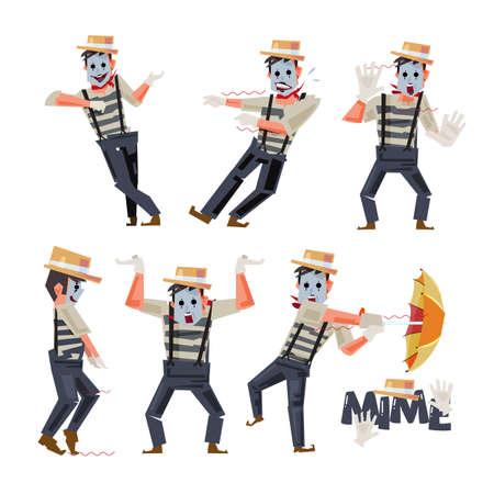 Diseño de personajes de Mimes en la ilustración de acción divertida.