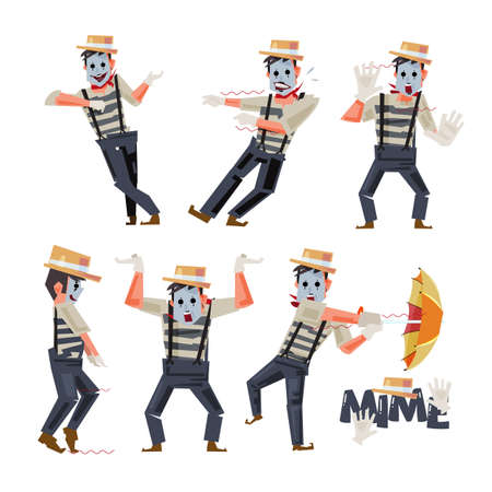 Mimes character design in funny action illustration.
