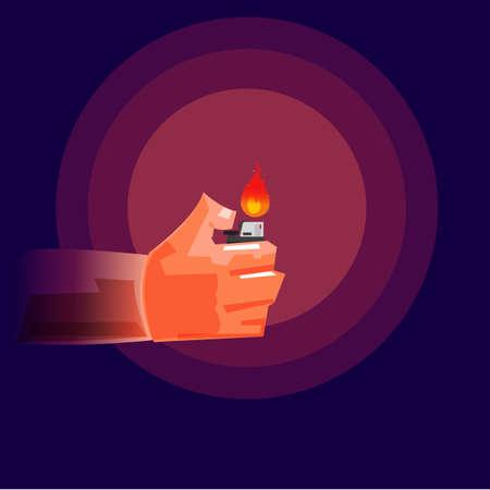 Mano que sostiene un encendedor en la oscuridad ilustración . Foto de archivo - 87773451