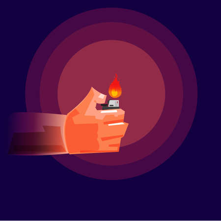 Hand Holding a Lighter in darkness illustration. Illustration