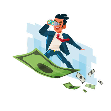 Business-man holding binocular on flying of money carpet illustration.