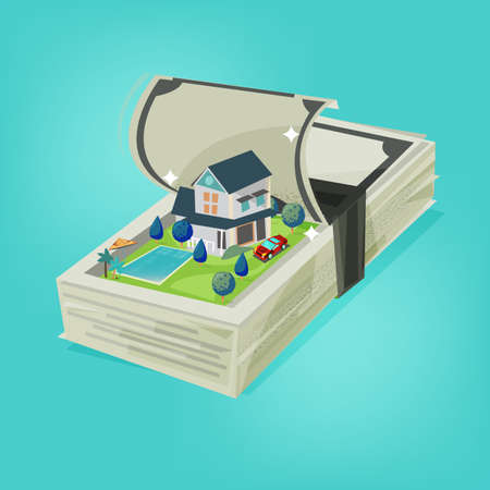 realestate: Money stack open and show big house with pool and car inside property.