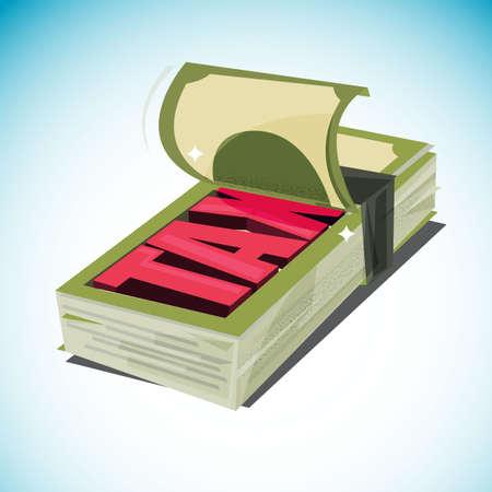 """geldstapel open en toont tekst """"Belasting"""" inkomen en belastingen. Stock Illustratie"""