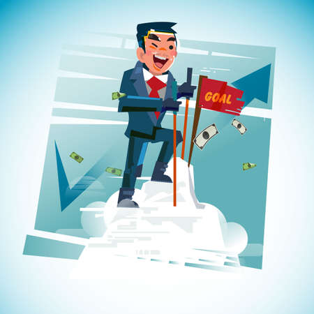 Business-man on top of mountain, successful concept - illustration.