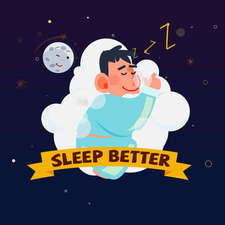 Man or kid sleeping on a comfortable cloud bed.