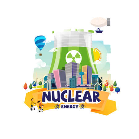 Green Nuclear Power Plant with the big city. Illustration
