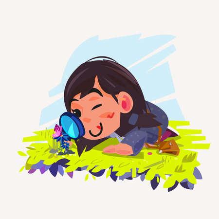 schattig meisje kijkt door een vergrootglas op vlinder op bloem - vectorillustratie Stock Illustratie