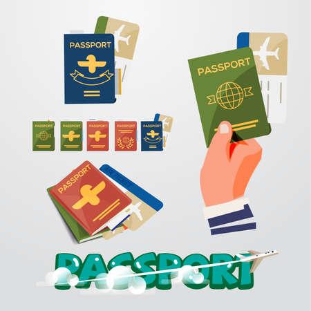 Pasaporte conjunto con diseño tipográfico - ilustración vectorial Foto de archivo - 87822931