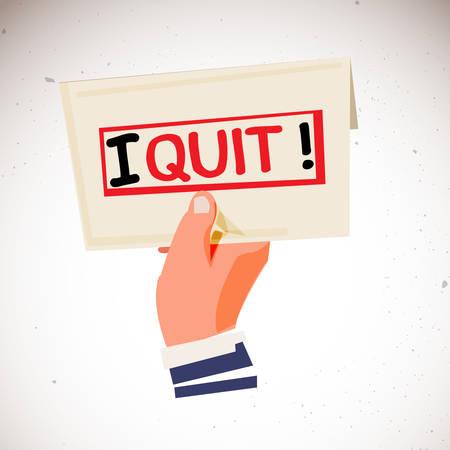 """Mano che tiene la busta con il testo """"I Quit"""" sul retro. concetto di lettera di dimissioni - illustrazione vettoriale Archivio Fotografico - 87822928"""