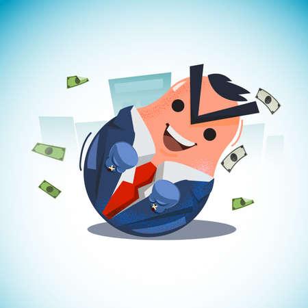 タンブラー人形。紙幣を持ったビジネスマンの人形を揺動。実業家コンセプト - ベクトル図を決してあきらめない  イラスト・ベクター素材