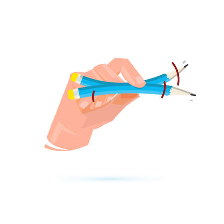 Hand play Rubber Pencil Trick - vector illustration