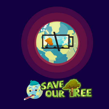 Earth with empty battery icon of last tree. save our tree concept - vector illustration