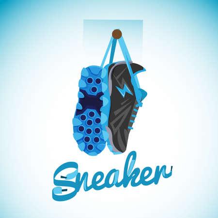 Opknoping sneakers met typografisch ontwerp.