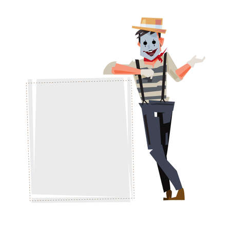 Diseño de personajes MIME con un objeto en blanco para poner su texto.