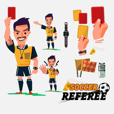 Football or Soccer Referee with card and graphic elments. 일러스트