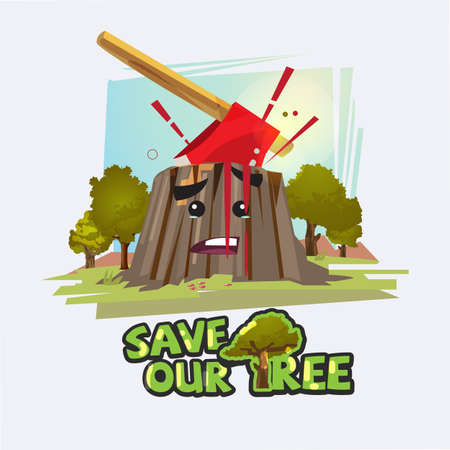 Axe in stump with blood. Save the tree concept vector illustration.
