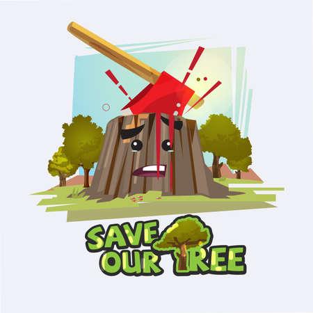 Hacha en tocón con sangre. Guarde la ilustración de vector de concepto de árbol. Foto de archivo - 87879009