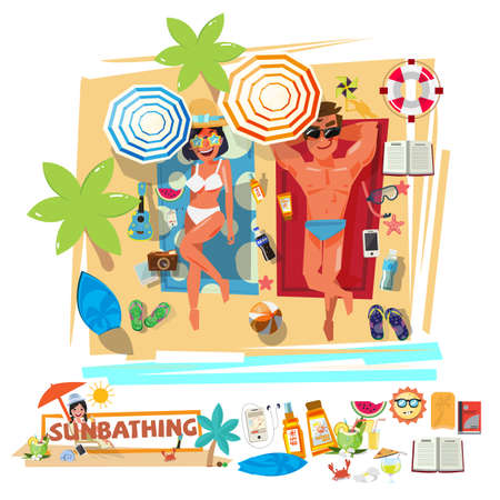 A smart man and sexy girl sunbathing on the beach with summer icon set. Illustration