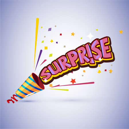 Party popper with surprise typographic design vector illustration.