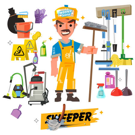 personajes de personal de limpieza con equipos de limpieza vienen con tipográfico - ilustración vectorial