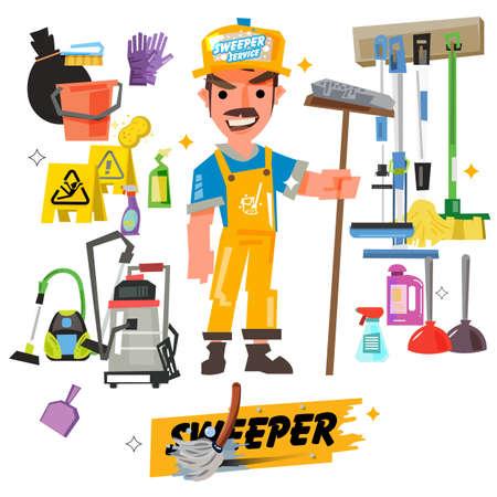 Putzpersonal Zeichen mit Reinigungsgeräten kommen mit typografischen - Vektor-Illustration Standard-Bild - 87884741