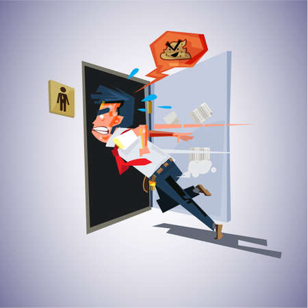 man runs to to the toilet. diarrhea concept - vector illustration Ilustração