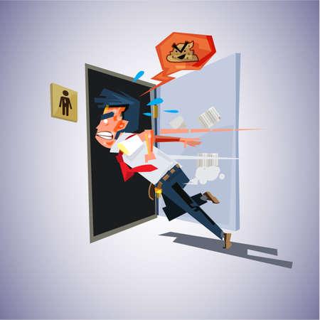 man runs to to the toilet. diarrhea concept - vector illustration Illusztráció