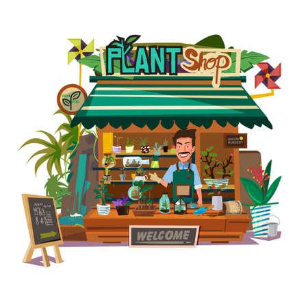 Plants shop with florist man illustration. Ilustração