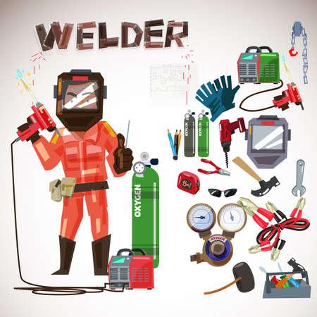 가스 용접 도구 및 장비와 보호 마스크에 작업자 용접기 그림을 설정합니다. 스톡 콘텐츠 - 87884838
