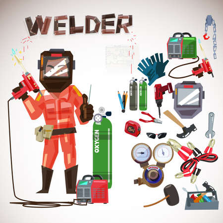 Worker welder in a protective mask with gas welding tools and equipment set illustration.
