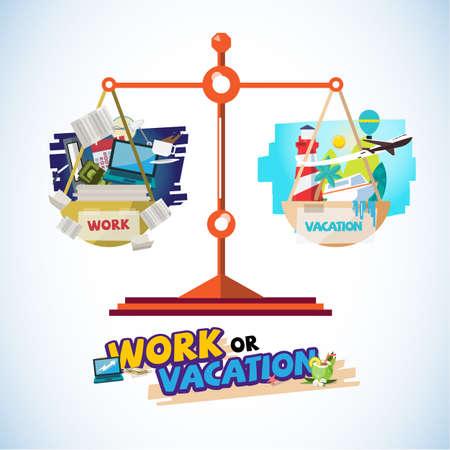 仕事や旅行のバランススケール作業または旅行のイラストの間のソリューションの概念。