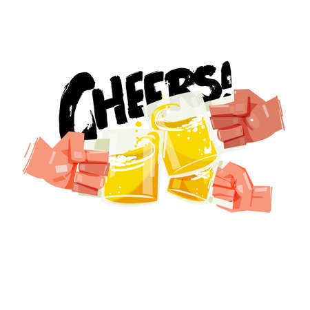 Hand with three full beer cups. Happy friends clinking with beer mugs come with typographic. cheers concept - vector illustration
