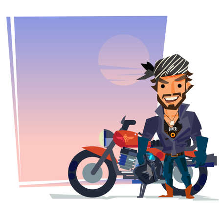 Biker man with his motorbike with blank space to input your content template.