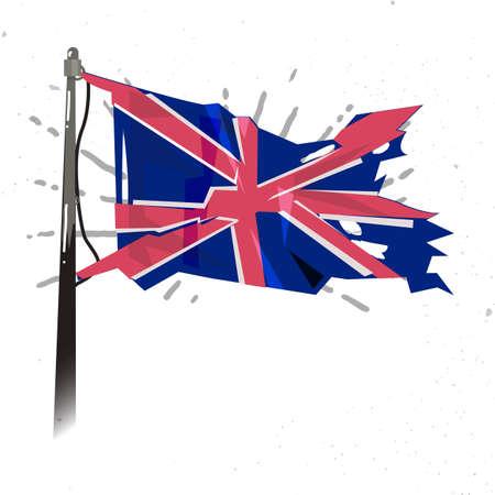 手を振っているイギリス国旗イラスト。  イラスト・ベクター素材