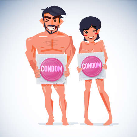 Man and woman holding big condom in package. Banco de Imagens - 88227544