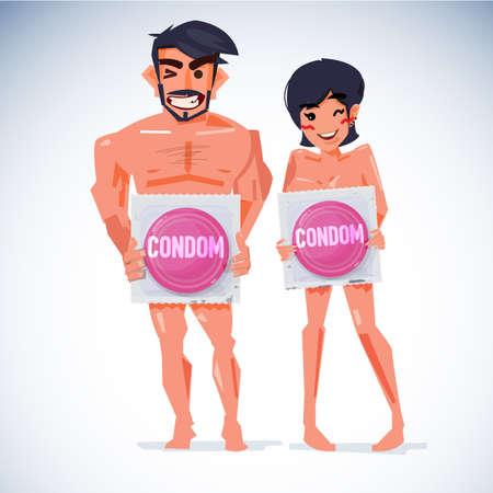 Mann und Frau, die großes Kondom im Paket halten. Standard-Bild - 88227544