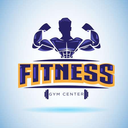 Logotipo de fitness. concepto de entrenamiento fuerte y peso - ilustración vectorial Foto de archivo - 88651803