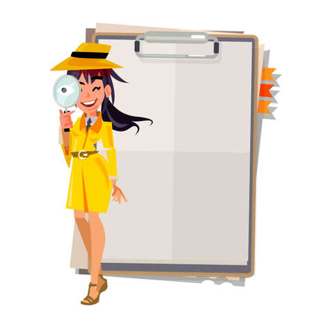 拡大鏡をかわいい探偵少女彼女の手はペーパー ボードでスタンド アップ フロント。提示コンセプト - ベクトル図