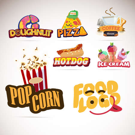 Food logo design. donut. pizza. coffee. popcorn. ice cream. typographic and logotype  - vector illustration Illustration