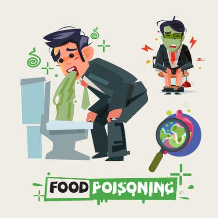 hombre de negocios tener diarrea en el baño. hombre con dolor vomitando. concepto de envenenamiento de alimentos.