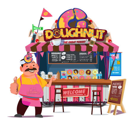 Donut Food booth. Street Food cart concept with merchant character design - vector illustration Illustration