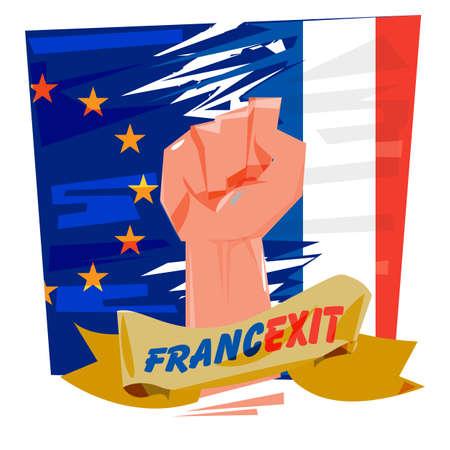 欧州連合とフランス国旗を拳します。Francexit コンセプト - ベクトル図  イラスト・ベクター素材